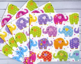 4 elephant napkins decoupage Children decoupage napkin Colorful little elephants tissue paper Kids craft paper napkins Scrapbooking paper  sc 1 st  Etsy & Elephant napkins | Etsy