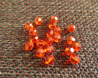 Set of 20 4 mm orange faceted acrylic beads