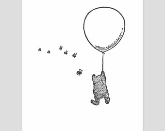 "Honey Bee Nursery Winnie the Pooh (Black and White Kids Wall Art, Boys Room Decor, Girls Room Print) Pooh Bear Artwork -- ""Balloon Ride"""