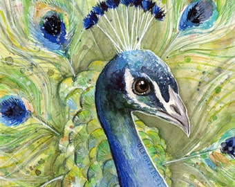 Peacock Watercolor Painting Giclee Art Print, Peacock Art, Peacock Print, Peacock Painting, Colorful Bird, Watercolor Bird, Colorful Animal