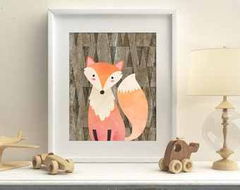 Nursery woodland printable fox wall art, baby room decor fox wall art, kids room fox art Download, woodland playroom fox printable decor