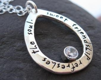 personalized sterling silver drop necklace with birthstone . ((Journal Dewdrop)) . custom stamped inscription in journaling lowercase font