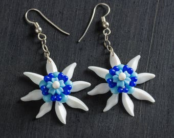 33% OFF SALE White & Blue Passionflower Bloom Earrings with Vintage Flowers Dangling from Sterling Silver Chain, Sterling Ear Hooks Jewelry