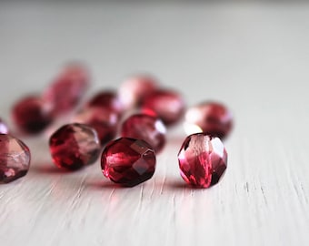 25 Fuchsia/Rose Faceted 8mm Rounds Czech Glass Beads