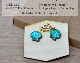 Custom Wood Earring Cards | Packaging Display Cards | 5 Shapes Circle Square Scallopped Hexagon | Customized with your logo or text