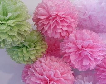 Tissue Paper Pom Poms - Set of 12 - Decorations//Birthday's Decor//Parties//Nursery//Weddings//Polka Dots Decor