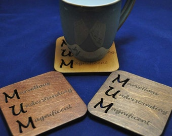 Acrostic Mum Coaster, available in a choice of colours, Ideal gift for Birthdays, Easter, Mothers Day and Christmas