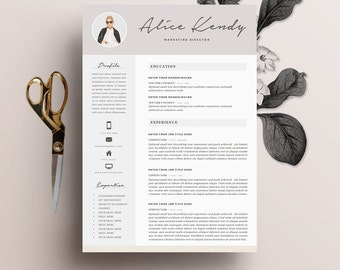 """Resume Template 4 page   Word DIY Printable CV with Cover Letter   The """"Charming""""   Professional and Creative Design"""