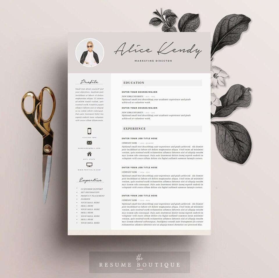 Lebenslauf Vorlage 4 Seite DIY druckbare CV mit Anschreiben