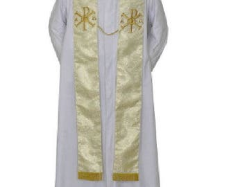 Wedding Metallic Gold Stole w/Rings & PAX ,clergy priest vestment chasuble