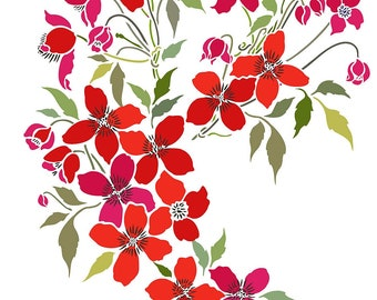Small Montana Clematis Flower Theme Pack Stencil  ©