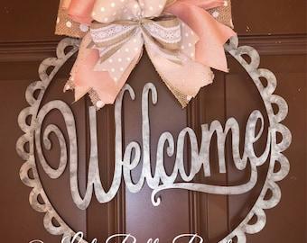 Welcome door hanger. Door hanger. Welcome wreath. Year round wreath. Rose gold wreath. Metal door hanger. Front door wreath. Mothers Day