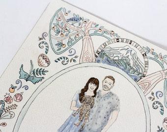 Custom Family Portrait, watercolor Illustration