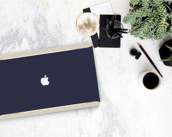 Navy Blue Macbook Pro 13 Case Macbook Air Case Laptop Case Macbook Case . Navy Blue . Gold Chrome . Cream Edge Accent - Platinum