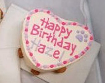 "GRAIN-FREE Heart-Shaped Peanut Butter Puppy Cake 6"""