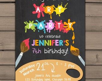 Art Birthday Invitation Art painting party Little artist Birthday Invitation Chalkboard Birthday Invite Girl Boy PDF Digital PRINTABLE DIY