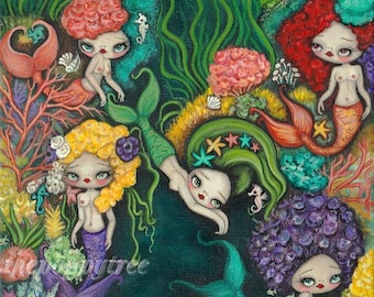 Mermaid Art print Nautical nude fish mermaids Sea girls original Wall Art ---Sea flowers LARGE PRINT 11 x 14