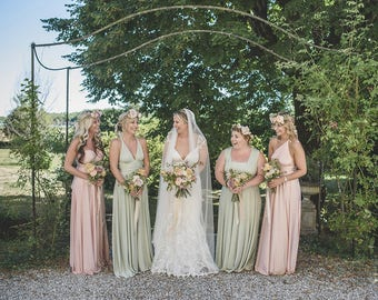 Mismatched Bridesmaids~ Long Maxi Octopus Convertible Wrap Gown- Mismatched Bridesmaids, Wedding, Maternity, Plus Size, Bespoke