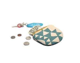 coin purse • small geometric pouch • triangle print - screenprinted - zipper pouch • coin pouch