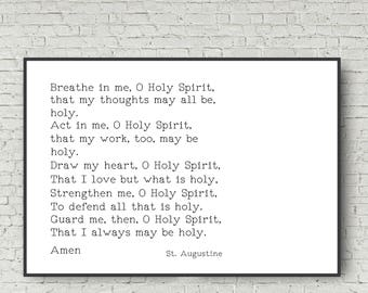 Prayer Art Print 24x36 Large Wall Art Poster St Augustine Holy Spirit Prayer Digital Art Print 24x36 Instant Download Typography Print