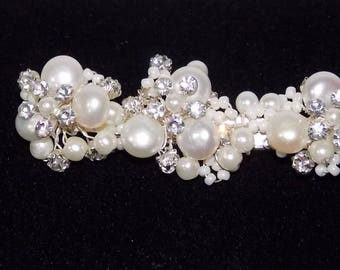 Stunning Brilliant Bridal Freshwater Pearl, CZ and Beads Wedding Hair Clip /0314