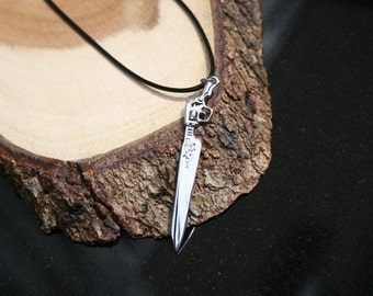 Final Fantasy 8 black waxed necklace with Squal's Gunblade pendant