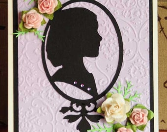 Silhouette of Young Girl with Roses All Occasion or Note Card