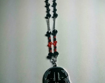 Handmade Vader beaded and chain necklace