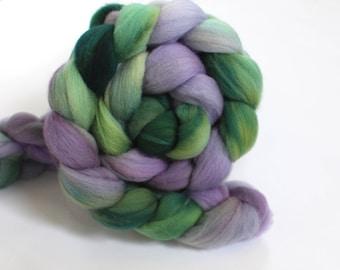 4oz Organic Polwarth 'Lavender Fields' Combed Top Roving Dyed Wool Spinning Fiber batt