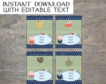 Three Little Pigs Food Tents | Birthday Farm Storybook 3 Place card Name Tag Big Bad Wolf Printable Foldable Party Table Labels