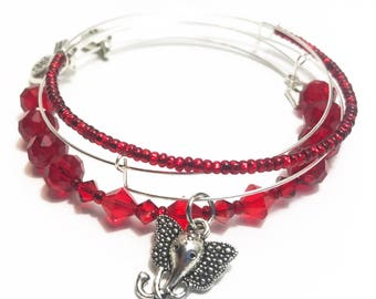 Red Bangle Charm Bracelet Set of 3 / Energy Elephant / Muladhara / Root Chakra / Gift Ideas for Her