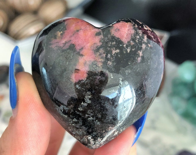 Rhodonite Heart Crystal/ Healing Stones and Crystals / Gift Idea