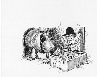 Thelwell print, Authority,  1962 vintage print of Norman Thelwell's cartoon pony prints