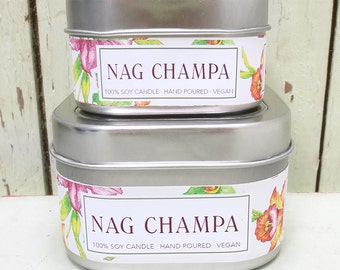 Nag Champa Soy Candle 4 oz. - Green Daffodil  -  Handpoured - Anne and Siouxsan -C4