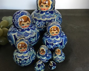M003 Russian blue wood Hand painted signed stacking dolls 10pc