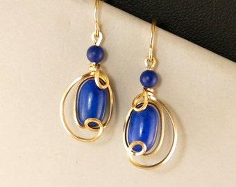 Lapis Blue Gold Gemstone Drop Earrings, Royal Blue Lapis Lazuli Wire Wrapped Gold Dangle Earrings, Artisan Wire Earrings
