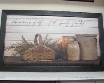 Faith,Family,Friends,Primitive Wall Decor,Country Wall Decor,Crocks,Baskets,321/2x181/2,Susie Boyer