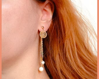 Long earrings Ear jacket (front) gold and pearl beads - gift idea