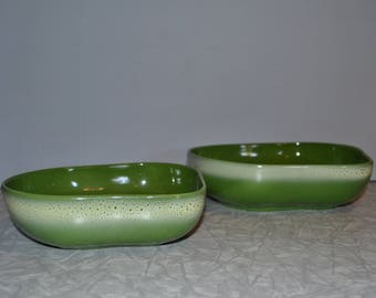 Tamac Green Pottery Bowls Set of 2 ~ Oklahoma Pottery ~ Mid Century Modern Serving Bowls