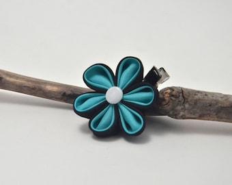 Black and Teal Silk Kanzashi Flower Hair Clip