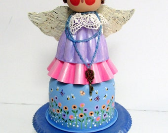 Summer Time Angel, Colorful Flower Angel, Tall Angel, Earth Loving Angel, Vintage Jello Mold Angel, Mixed Media, Hand Painted, Hand Crafted