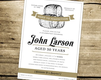 Bourbon invitation etsy printable adult bourbon birthday aged to perfection custom birthday invitation alcohol theme 4x6 filmwisefo Gallery