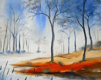 "Painting landscape "" The Blue River """