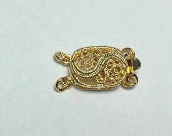 Clasp with Tab, Gold Plated Oval Filigree. 2-Strand