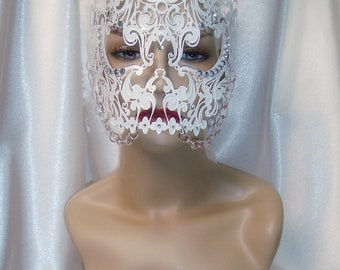 White Metal Skull Mask, Mardi Gras Mask, Full Face Skull Mask, Day of the Dead Mask, Steampunk Mask