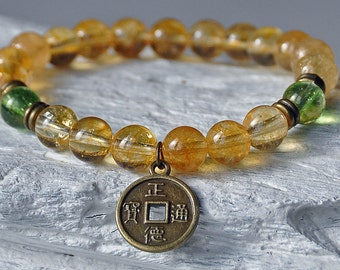 Success and Prosperity, Citrine Peridot Lucky Coin Bracelet, Gemstone Chakra Mala,Boho Bracelet, Zen Bracelet, Meditation Buddha Jewelry