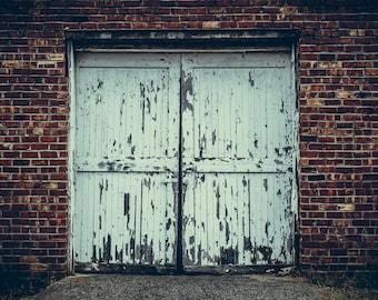 "Photograph Door Industrial Wall Fine Art Photo Business Graffiti Rust Brick Steel Decor  // ""Weathered"" // 8x10 11x14 16x20 24x30"
