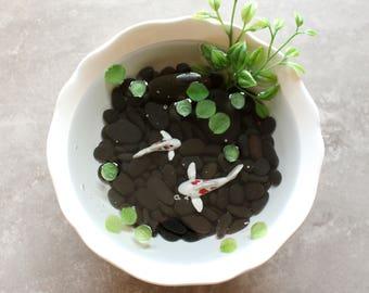 Miniature Koi Pond in White Ceramic Dish  / Terrarium / Fairy Garden Accessory / Tropical Home Decor