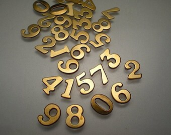 30 small brass number charms