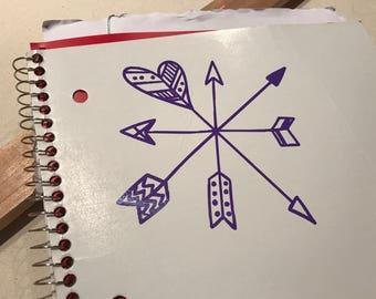 Custom Crossed Four Arrows Vinyl Decal. Personalized Crossed Four Arrows Sticker